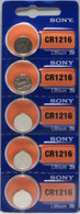Sony Lithium 3V Batteries Size CR1216 (Pack of 5)