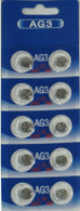 10 of AG3/LR41 Alkaline Button Cell Watch Battery