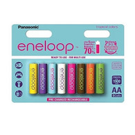 Eneloop Panasonic AA New 2100 Cycle Rechargeable Batteries 8pc tropical