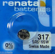 Renata 317 SR516SW 1.55v Silver Oxide Watch battery