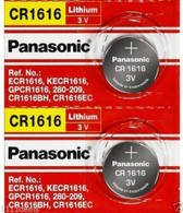 [ 2 Pieces ] Panasonic CR1616 -- 3V Lithium Coin Cell Battery, DL1616, ECR1616