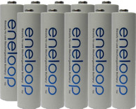 10 Pack Panasonic Eneloop AAA 4th generation 800mAh, Min. 750mAh NiMH Pre-Charged Rechargeable Batteries + Free Battery Holder