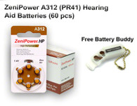 60 ZeniPower Hearing Aid Batteries Size: A312 + Battery Holder Keychain Kit