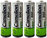 4 Camelion AA Ni-CD 800mAh 1.2V Rechargeable Solar Batteries