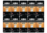 10 duracell  dl1632 batteries, replaces: CR1632 BR1632 ECR1632 KCR1632 KL1632 L1632 LITH34 LITH32 1632