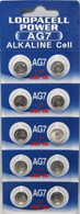 10 x LOOPACELL AG7 LR927 395 SR57 1.5 Volt Alkaline Cell Watch Batteries