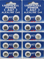 (20) AG7 Button Cell Batteries, AG7 Coin Cell Battery, Alkaline Button Battery, By LOOPACELL