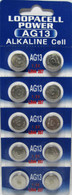 10-pack LR44 Alkaline Button Cell Battery Replaces:LR44,357,SR44W,PX76,675,1166a,LR44H,V13GA,GP76A,L1154,RW82B,EPX76,SR44SW,S303,S357,SP303,SR44SW