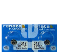 Renata 317 Watch Battery, Twin Pack