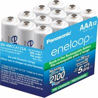 Panasonic BK-4MCCA12SA eneloop AAA New 2100 Cycle Ni-MH Pre-Charged Rechargeable Batteries, 12 Pack