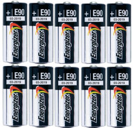Pack of 10 Energizer E90 N Size 1.5V Alkaline Battery - Bulk Pack - with FREE Clear Battery Storage Holder Case