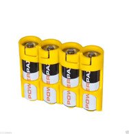 "Storacell by PowerPax SlimLine 4 AA Battery Caddy Yellow - Holds 4 ""AA"" Batteries"