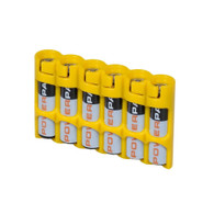 "Storacell by Powerpax Slim Line ""AAA"" Battery Caddy, Yellow - Holds 6 ""AAA"" Batteries"