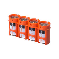 Storacell Powerpax C Battery Caddy, Orange, 4-Pack