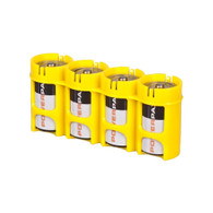 Storacell Powerpax C Battery Caddy, Yellow, 4-Pack