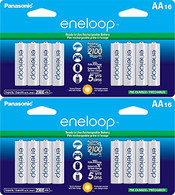 Newest version Panasonic Eneloop 4th generation 32 Pack AA NiMH Pre-Charged Rechargeable Batteries -PLUS BATTERY HOLDER- Rechargeable 2100 times