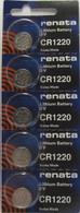 Renata Watch Battery 3V Swiss Made Batteries CR1220 5 Pk