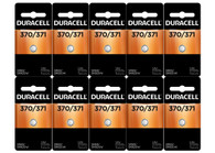 Duracell D371/370 1.5V Silver Oxide Watch/Electronic Button Cell Battery - 10 pk
