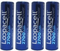 Loopacell 2700 for sanyo HR-3U 2700mAh AA NiMH Rechargeable Batteries X4