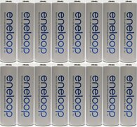 2 X  Newest version Panasonic Eneloop 4rd generation 16 Pack AA NiMH Pre-Charged Rechargeable Batteries  +2 FREE BATTERY HOLDERS- Rechargeable 2100 times