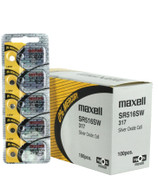 100pk Maxell Silver Oxide Watch Battery SR516SW Replaces 317 - wholesale