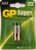 2 Pack of GP 0% Mercury Super AAAA LR61 MN2500 E96 GP25A Alkaline Batteries.