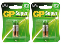 GP 0% Mercury Super AAAA LR61 MN2500 E96 GP25A Alkaline Batteries Pack Of 4