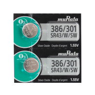 2 Sony 386/301 (SR43SW SR43W) Silver Oxide Watch Batteries   *Replaced By Murata
