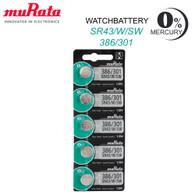 Sony 386/301 (SR43W SR43SW) 1.55V Silver Oxide 0%Hg Mercury Free Watch Battery (5 Batteries)   *Replaced By Murata