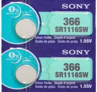 2 Sony 366 (SR1116SW) Silver Oxide Watch Batteries