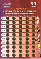 LOOPACELL High Power Super Alkaline Button Cell 1.5V Batteries, Assorted, 50 Pieces
