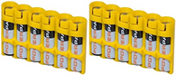 "2 x Battery Cases By Powerpax Slim Line ""AAA"" Battery Caddy, Yellow - Each Holds..."