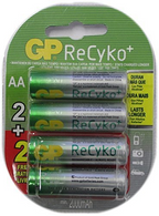 GP Recyko AA NiMH Pre-Charged Rechargable 1.2v 2100mAh 2 Batteries + 2 Free Tota...