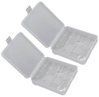 2 x White Clear Plastic Protective Storage Case Holder for 4 x 18650 Batteries O...