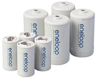 8 Panasonic Eneloop Spacers 4 C Size Spacers, and 4 D Size Spacers, for Use with...