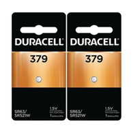 379 Duracell Silver Oxide Button Battery (SR63, LR521, 179, SR521SW) 2 pk.
