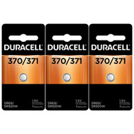 3  Duracell 370/371 Batteries Replacement for 370, 370/371, 71, 371BP, 537, 605, AWI S18, AWI S21, Citizen 280-31, D371, GP371, KS371, LR921, R371, SP371, SR369, SR920SW, SR921, Seiko SB-AN, Seiko TR920SW, V371, V537