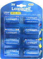 Loopacell   8 Pk CR123 3V battery, for Flashlight and Cameras CR17345