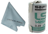 Saft 1/2 AA 3.6 V Lithium Battery with Tabs LS14250 Non Rechargeable with Loopacell Cloth