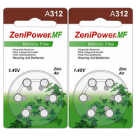 12 x ZeniPower 312 Size Hearing aid batteries Zinc air PR41 A312 Mercury free Value