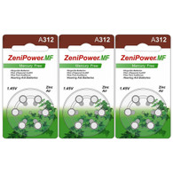 ZeniPower Hearing Aid Bateries A312 (sizze 312) MF 18pcs
