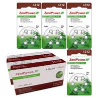 ZeniPower MF312 DF (144PK) Size A312 155mAh 1.45V Zinc Air Brown Hearing Aid Batteries - 6-Pack Retail Card