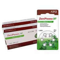 Zenipower Mercury Free Hearing Aid Batteries Size 312, 126 Pack