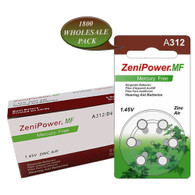 1800 Zenipower Hearing Aids Aid Batteries Size 312 Mercury Free NEW Expire 2020 Wholesale Pack
