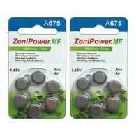 ZeniPower HP 675 (A675) Hearing Aid Zinc Air Battery - 12-Pack