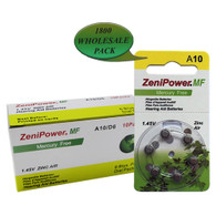 ZeniPower A10 Zinc Air Size 10 Hearing Aid Batteries 6-Pack - 1800 Cards Wholesale Pack