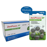 ZeniPower Batteries Size A675 Zero Mercury (3000 Wholesale Pack Batteries)