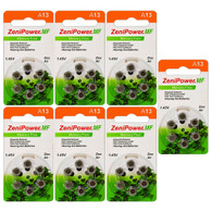 ZeniPower MF13 (42PK) Size 13 280mAh 1.45V Zinc Air Orange Hearing Aid Batteries - 6-Pack Retail Card