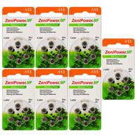 ZeniPower MF13 (42PK) Size 13 280mAh 1.45V Zinc Air Orange Hearing Aid Batteries - 6-Pack Retail Card