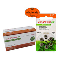 Box of ZeniPower Hearing Aid Batteries A13 (size 13) MF (600 Wholesale Pack)